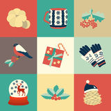 Vector illustration of set of winter color seasonal elements. Vector illustration of collection of winter color seasonal elements Royalty Free Stock Photo