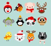 Vector illustration set of winter cute animals in Christmas costumes and elements. Happy in winter and christmas animals royalty free illustration