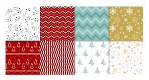 Vector illustration set of winter patterns. Collection of red and white, golden and blue seamless backgrounds with. Snowflakes, christmas tree and simple stock illustration
