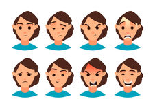 Vector illustration. Set of women emotion. Set for your design. Flat icon. Cartoon character. Stock Photos