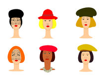 Vector illustration of a set of women's hats Royalty Free Stock Photography