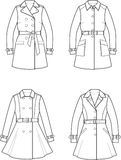Trench coat. Vector illustration. Set of womens trench coats Stock Image