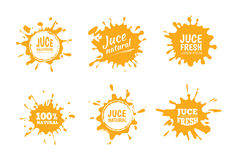 Vector illustration set of Yellow juice or honey labels. Stock Image