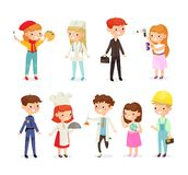 Vector illustration set of young kids boys and girls of different professions. Doctor, builder, cook, policeman and stock illustration