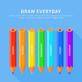 Vector illustration of seven color pencils for everyday Royalty Free Stock Images