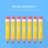 Vector illustration of seven pencils for everyday Royalty Free Stock Photography