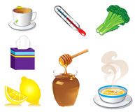 Sick Cold Flu Icons. Vector Illustration of seven Sick Cold Flu Health Icons Royalty Free Stock Image
