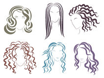 Vector Illustration of the several options styles for women hair silhouettes. Royalty Free Stock Images