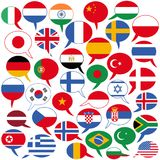 Vector illustration of several speech balloon shaped flags, different languages English, German, Hindi, French, Arabic, Spanish. Vector illustration of several vector illustration