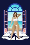 Vector illustration of a girl on the balcony royalty free illustration