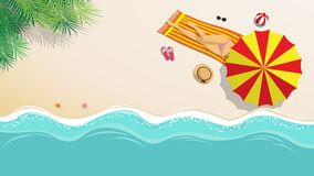 Vector illustration. sexy girl in bikini sunbathing on the beach. With beach umbrella and beach fashion accessory at tropical country in summer season. summer Stock Images