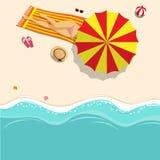 vector illustration. girl in bikini sunbathing on the beach royalty free illustration