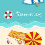 Vector illustration. girl in bikini sunbathing on the beach stock illustration