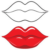Vector illustration. Sexy red female lips Stock Photos