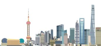 Vector illustration of Shanghai city skyline at sunrise. Illustration of Shanghai city skyline at sunrise stock illustration