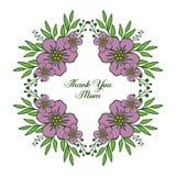 Vector illustration shape card thank you mom for various bright purple flower frame vector illustration