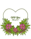 Vector illustration shape will you marry me with crowd purple flower frame royalty free illustration