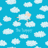 Vector illustration with sheep and clouds. On a blue background. Card with the text Be Happy Stock Photos