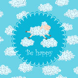 Vector illustration with sheep and clouds. On a blue background. Card with the text Be Happy Royalty Free Stock Photography
