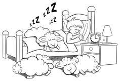 Sheep fall asleep on the bed of a sleeping man. Vector illustration of sheep fall asleep on the bed of a sleeping man Stock Images