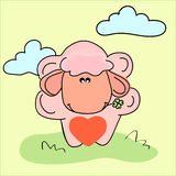 Vector illustration of sheep with heart Stock Photography