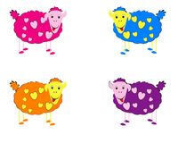 Vector illustration of sheeps Stock Photos