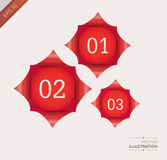Vector 123 illustration. Vector illustration. Sheet of red paper with a curl. EPS 10 Stock Photos