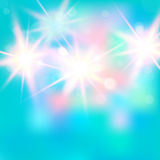 Vector illustration of shiny bright light. Abstract lights on blue background. Useful for your design. Stock Photos