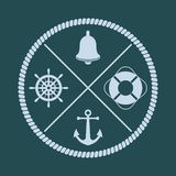 Ship`s wheel, bell, anchor and lifebuoy silhouettes with crossed stock illustration