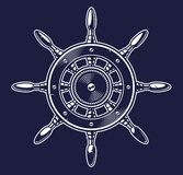 Vector illustration of a ship wheel on the dark background vector illustration