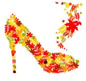 Vector illustration of shoes from autumn leaves Stock Images