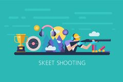 Vector illustration. Shooting Skeet. The elements of design. Set. Of  elements Stock Photo