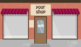 Vector illustration of a shop. Hand drawn background with shop windows Royalty Free Stock Photo