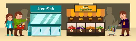 Vector illustration, shoppers make purchases in shops. Bench of with fresh vegetables, an aquarium with live fish, the. Supermarket shelves. Fish, tomatoes vector illustration