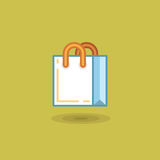 Vector illustration shopping bag on light green background.  Stock Photo