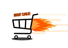 Vector illustration of shopping cart with flame. Fire labels set. Hot Sale. Illustration of shopping cart with flame. Fire labels set. Hot Sale Royalty Free Stock Photos