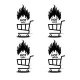 Vector illustration of shopping cart with flame. Fire labels set. Hot Sale. Illustration of shopping cart with flame. Fire labels set. Hot Sale Stock Photography
