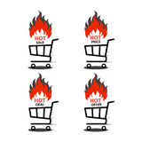 Vector illustration of shopping cart with flame. Fire labels set. Hot Sale. Illustration of shopping cart with flame. Fire labels set. Hot Sale Royalty Free Stock Image