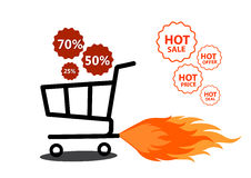 Vector illustration of shopping cart with flame. Fire labels set. Hot Sale. Illustration of shopping cart with flame. Fire labels set. Hot Sale Stock Photo