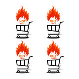 Vector illustration of shopping cart with flame. Fire labels set.. Illustration of shopping cart with flame. Fire labels set. Hot Sale, offer, deal, price Stock Photo