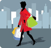 Vector illustration of shopping girl. Silhouette of elegant girl going for shopping Stock Photos