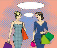 Vector illustration of shopping women in retro pop art style Royalty Free Stock Images