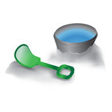 Vector illustration shovel and bucket. Let's play on the beach royalty free illustration