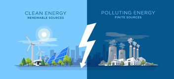 Comparing Clean and Polluting Energy Power Stations. Vector illustration showing clean and polluting electricity generation production. Polluting fossil thermal vector illustration