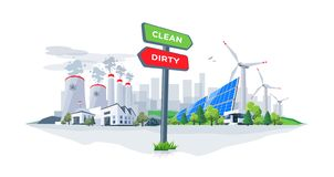 Comparing Clean Renewable and Dirty Polluting Energy Plants with royalty free illustration
