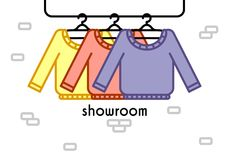 Vector illustration with showroom. Vector illustration with coat rack, showroom. Closet with clothes in flat style Royalty Free Stock Photography