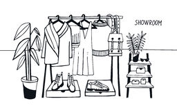 Vector illustration showroom. Coat rack with clothes, bags, boxes and shoes, fashion, modern style. Royalty Free Stock Photo