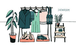 Vector illustration showroom. Coat rack with clothes, bags, boxes and shoes, fashion, modern style. Colorful. Stock Photography