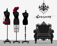 Vector illustration with showroom. Room with armchair, chandelier, mannequin in baroque style Stock Photography