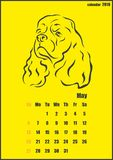 Calendar for 2018 year. Year of the yellow dog. Vector illustration shows Calendar for 2018 year. Year of the yellow dog Stock Images